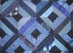 Detail 1 of indigo quilt