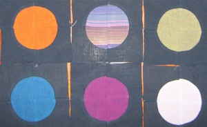 quarter-round pieced circles, 6in squares