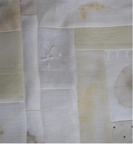 MT initial embroidery detail, stain quilt, 2010