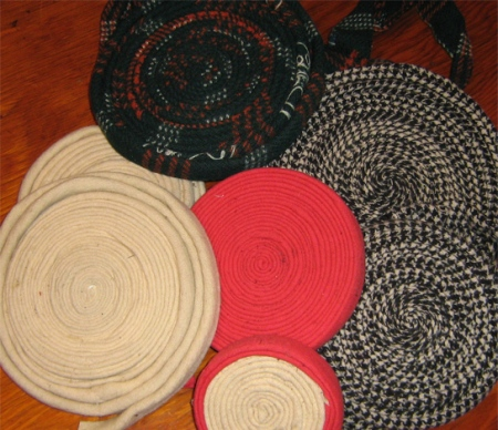 coils of wool binding fabric